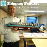 Captain Niels V. Pedersen at the helm of MAERSK MC-KINNEY MOLLER